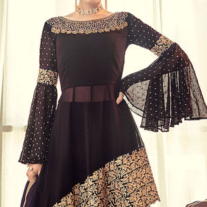Coffee Brown Colored Partywear Embroidered Georgette Lehenga Kameez