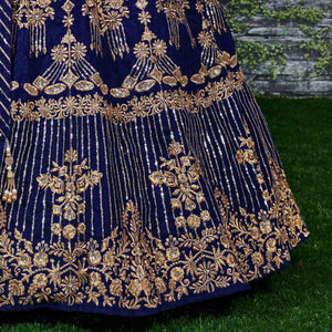 Navy Blue Colored Partywear Embroidered Banglori Silk Lehenga