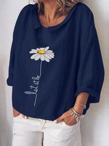 Flower Print 3/4 Sleeve Loose Plus Size Blouse