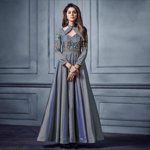 Grey Colored Partywear Embroidered Two Tone Silk Gown