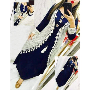 Rayon Tassel Blue Color Long Kurti With White Net Shrug