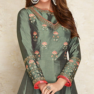 Greenish Grey Colored Partywear Embroidered Cotton Silk Gown