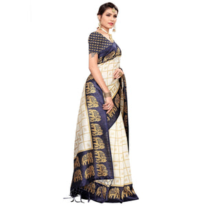 White-Navy Blue Colored Festive Wear Printed Mysore Silk Sare