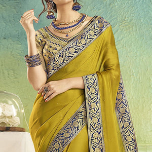 Green Colored Partywear Chiffon Saree