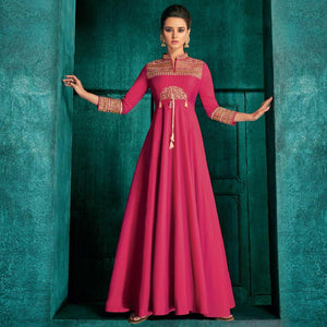 Pink Colored Partywear Embroidered Silk Gown