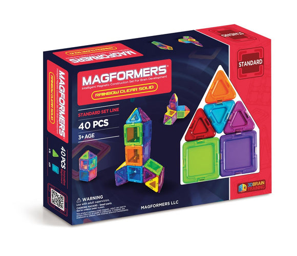 MAGFORMERS 40PC RAINBOW SOLID CLEAR
