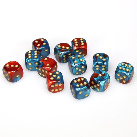 CHESSEX DICE 12D6 GEMINI RED TEAL GOLD