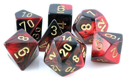 CHESSEX DICE 7PC GEMINI BLACK RED GOLD
