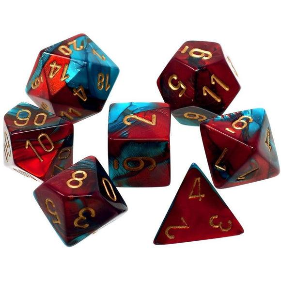 CHESSEX DICE 7PC GEMINI RED TEAL GOLD