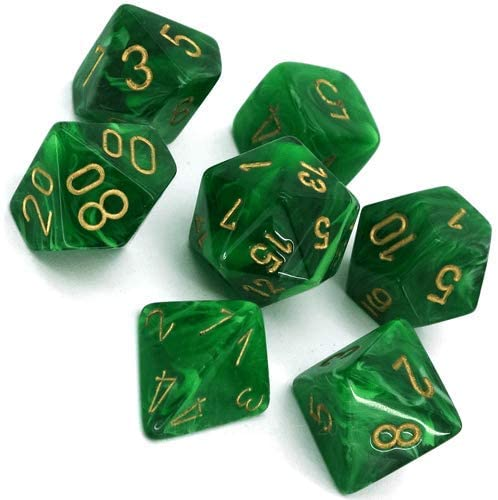 CHESSEX DICE 7PC VORTEX GREEN & GOLD