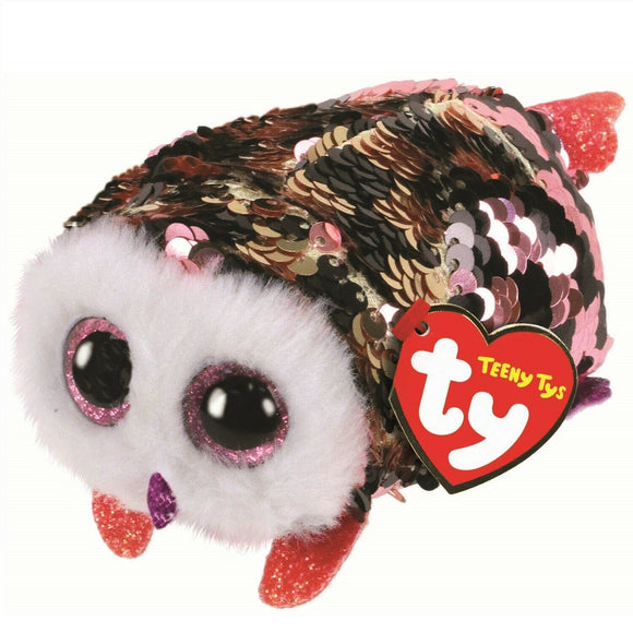 TY TEENYS FLIPPABLE OWL CHECKS BLACK/PINK