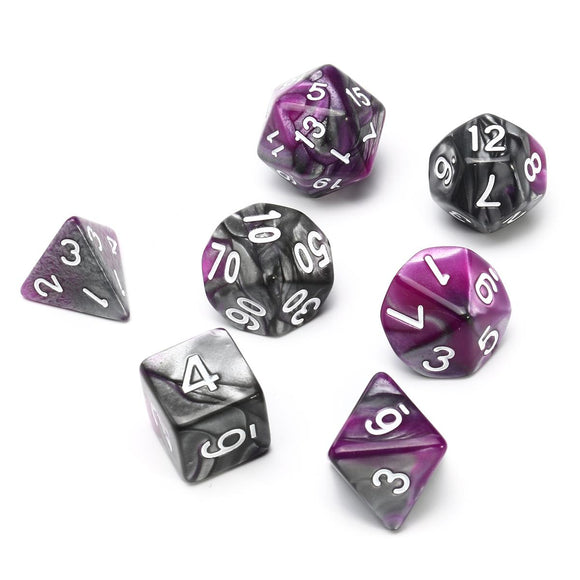 CHESSEX DICE 7PC GEMINI PURPLE STEEL WHITE
