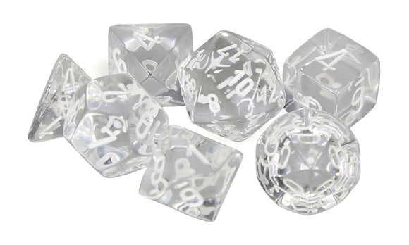 CHESSEX DICE 7PC TRANSLUCENT CLEAR WHITE
