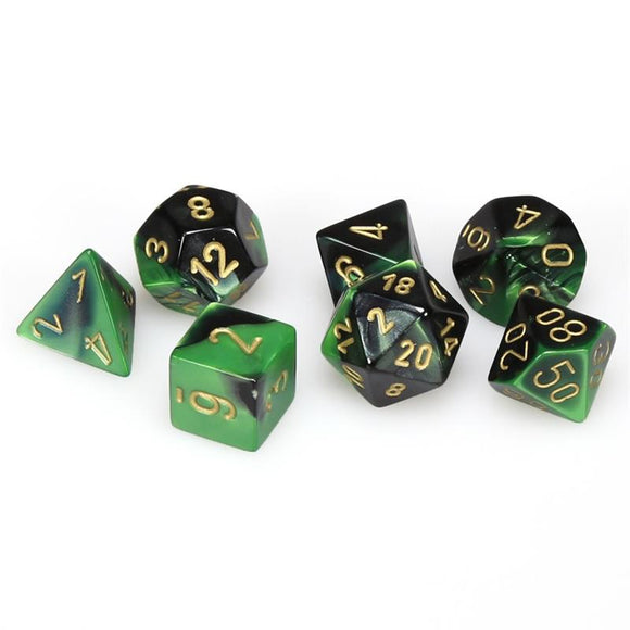 CHESSEX DICE 7PC GEMINI BLACK GREEN GOLD