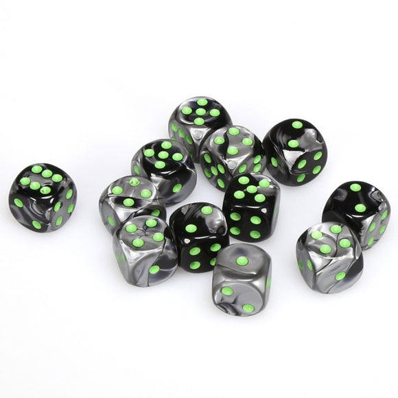 CHESSEX DICE 12D6 GEMINI BLACK GREY GREEN