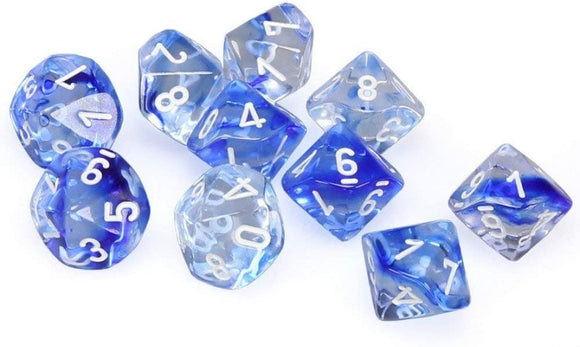 CHESSEX DICE 7PC NEBULA BLUE WHITE