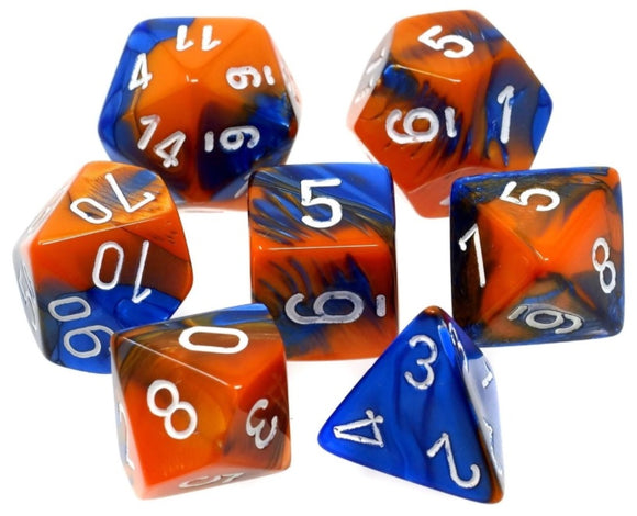 CHESSEX DICE 7PC GEMINI BLUE ORANGE WHITE