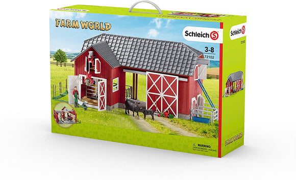 SCHLEICH LARGE RED BARN FARM WITH BLACK ANGUS