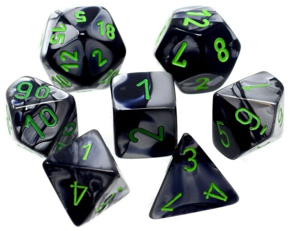 CHESSEX DICE 7PC GEMINI BLACK GREY GREEN