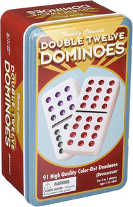 GM DOMINOES DOUBLE 12 COLOR TIN