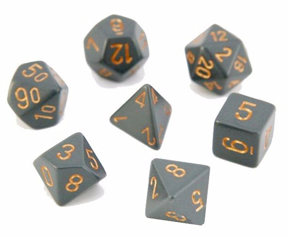 CHESSEX DICE 7PC OPAQUE GREY COPPER