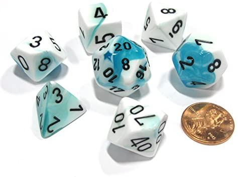 CHESSEX DICE 7PC GEMINI WHITE/TEAL/BLACK