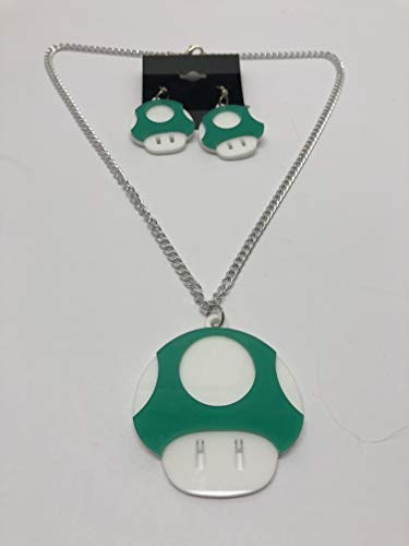 Mario Bros Green Mushroom Earrings and Necklace Set