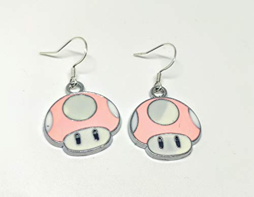 Mario Toad Dangle Drop Earrings Charms Enamel Silver Plated Video Games Characters