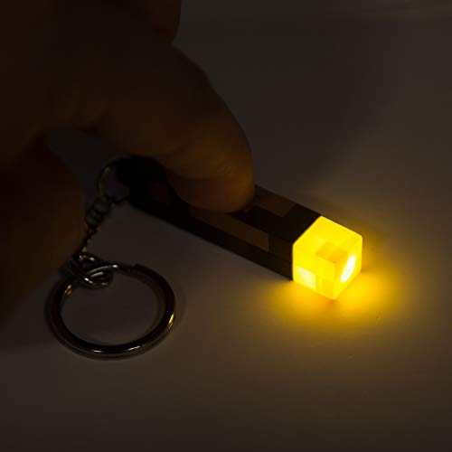 JINX Minecraft 3D Light-Up Torch Key Chain, 2 inches long