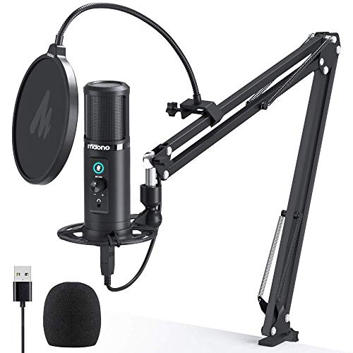 USB Microphone Zero Latency Monitoring MAONO PM422 192KHZ/24BIT Professional Cardioid Condenser Mic with Touch Mute Button and Mic Gain Knob for Recording, Podcasting, Gaming, YouTube