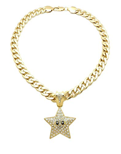 "BLINGFACTORY Hip HOP ICED Mario Star Pendant & 11mm 18"" Cuban Chain Necklace"