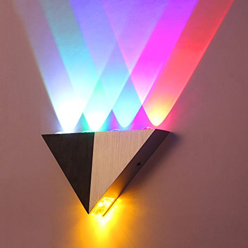 Lemonbest Modern Triangle 5W LED Wall Sconce Light Fixture Indoor Hallway Up Down Wall Lamp Spot Light Aluminum Decorative Lighting for Theater Studio Restaurant Hotel (Hardwired)