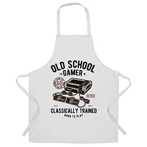 Gaming Chef's Apron Old School Gamer Retro Videogame Arcade White One Size