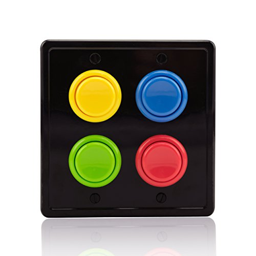 Arcade Light Switch Plate Cover, (Black/Red,Blue,Green,Yellow)