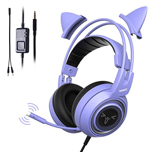 SOMIC G951S Purple Stereo Gaming Headset with Detachable Cat Ears