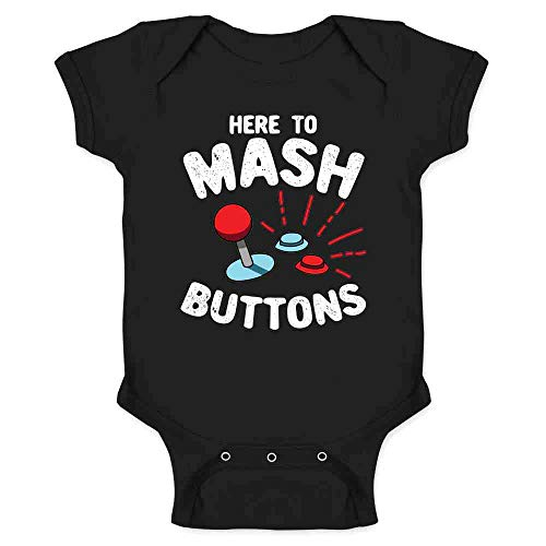Here to Mash Buttons Gamer Video Games Black 24M Infant Baby Boy Girl Bodysuit