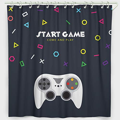 Faitove Gamer Shower Curtain Set Polyester Waterproof Bathroom Decor Accessories