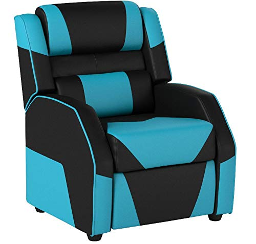 AmazonBasics Kids/Youth Gaming Recliner with Headrest and Back Pillow, 5+ Age Group, Black and Blue