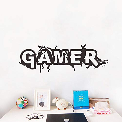 "Gamer Wall Decal Wall Sticker for Boys Bedroom (Black, 22"" x 7"")"