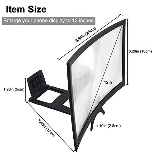 GLISTON 12'' 3D Phone Screen Enlarger, Curved Screen Magnifier for Cell Phone