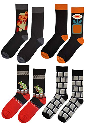 Dungeon Super Mario Bros Classic Fire Socks 4 Pair Gift Bundle