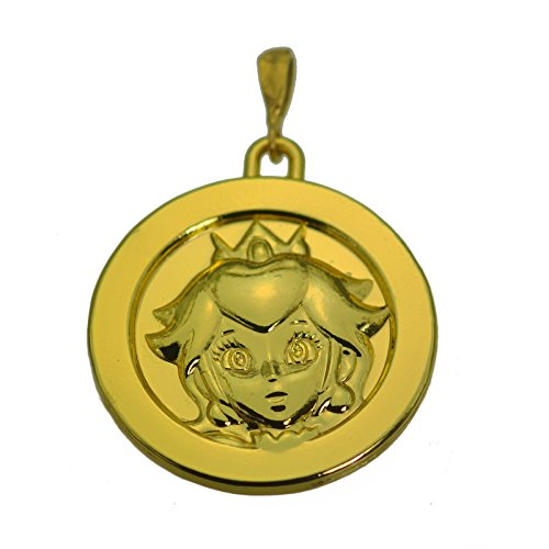 Sterling Silver 24kt Gold Plated Princess Peach Pendant Charm