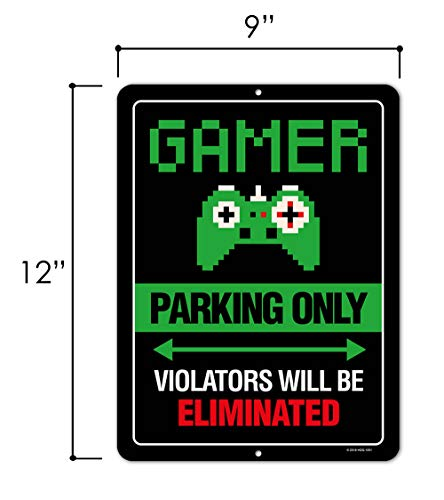 Gaming Room Decor, Gamer Parking Only Violators Will Be Eliminated, 9 x 12 inch