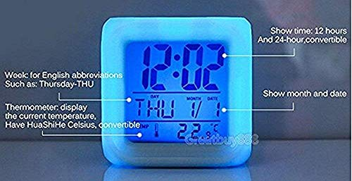 R-timer Super Mario Bros 7 Colors Change Digital Alarm Clock with Time