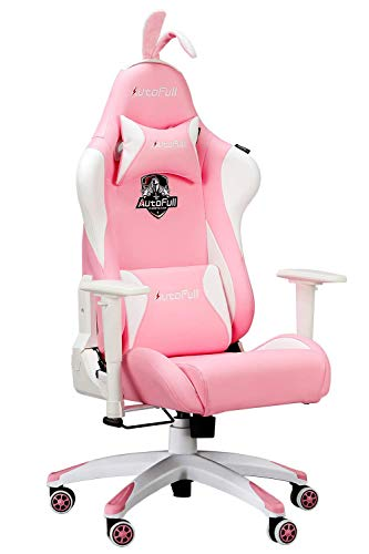 Pink Leather Gaming Chair W Racing Seat Bunny Ears