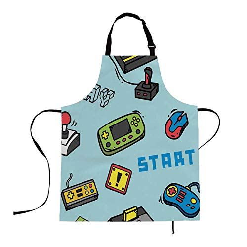 Mugod Gamer Devices Funny Apron Video Game Backdrop Button Cartridge Controller