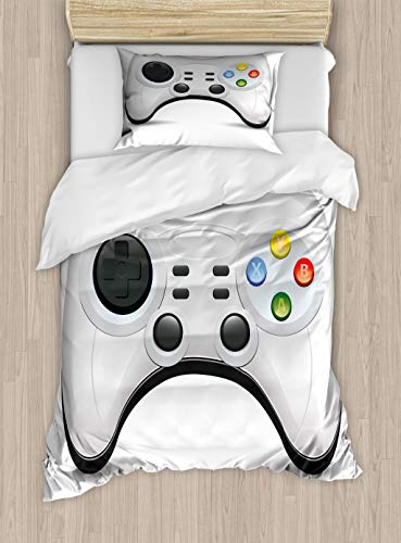 Lunarable Gamer Duvet Cover Set Modern Gamepad with Colorful Action Buttons