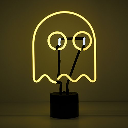 Amped & Co Neon Ghost Desk Light, Real Neon, Yellow and White, Large 14 x 9 inches