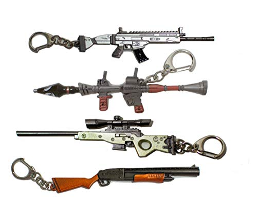 Battle Royale Fortnight Keychain Gamer Royale Metal Gun Party 4 Pack