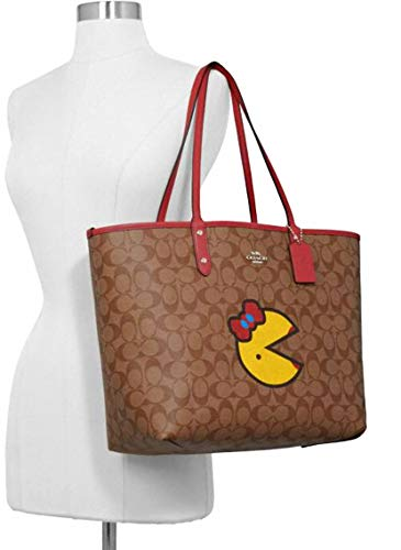 COACH Signature Miss Pacman Reversible City Tote Khaki/Multi/Washed Red